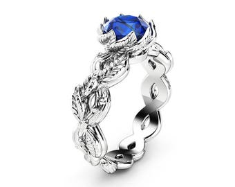 Sapphire Leaf Engagement Ring 14K White Gold Leaf Ring Solitaire Sapphire Engagement Ring