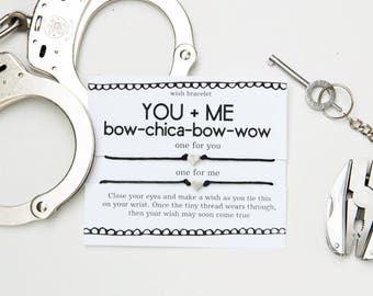 You and Me Funny Wish Bracelet, Bowchickawowow, Naughty Card, Gift For Her, Birthday Sex, Funny Birthday Card, Gift For Him, Wish Bracelet,