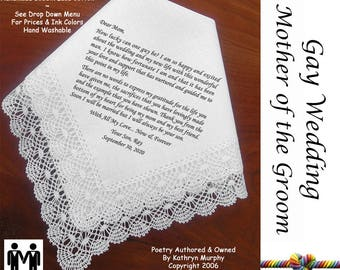 Gay Wedding ~ Mother of the Groom Gifts G109 Title, Sign & Date for Free!  Wedding Hankie Poem Printed Hankie Gay Wedding Mr. and Mr.