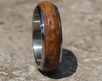 Walnut wood titanium ring