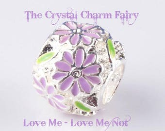 European Charm PURPLE Love Me - Love Me Not FLOWER Charm Silver Spacer Bead Fits / Large Hole / Pandora /  European / Bracelets / Necklace