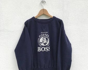 20% OFF Vintage Suntory Boss Coffee Sweatshirt / Coffee Clothing / Suntory Boss Coffee Sweater