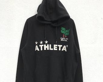 "20% OFF Vintage Athleta Cafe Do Brasil Hoodie Sweater / Athleta Big Logo / Sportwear Hoodie / Armpit 22"""