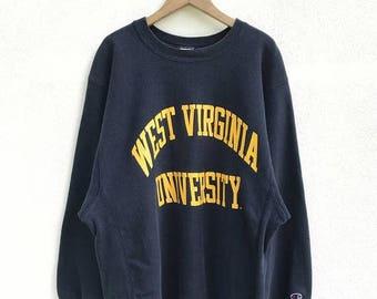 "20% OFF Vintage Champion West Virginia University Reverse Weave Sweatshirt / Champion C Logo / Champion Crewneck / Sportwear / Armpit 24"""