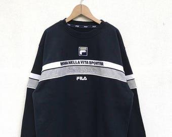 "20% OFF Vintage Fila Embroidery Logo Sweatshirt / Fila Sweater / Casual Clothing / Fila Sport Sweater / Fila Italia / Armpit 24"""