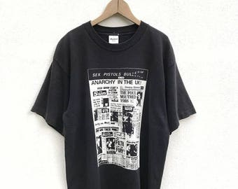 20% OFF Vintage Sex Pistols Bulletin Anarchy In The Uk T Shirt,Punk T Shirt,Nevermind The Bollocks,Punk Rock,Sid Vicious
