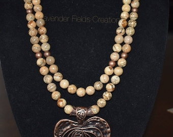 Two-Strand Picture Jasper Necklace with Bronze Heart Pendant  (20189N)