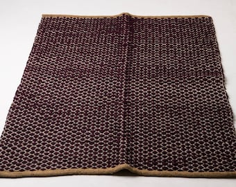 Plum and rustic woven rug, cotton rug, ecofriendly rug, rag rug, cotton rag rug, scandinavian rug, floor runner, woven rugs  - READY TO SHIP
