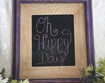 Farmhouse wall decor distressed hand painted Vintage purple chalkboard