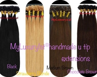 100 Strands Remy Human Hair Fusion Nail U tip Extensions 50 Grams hair 18 inches Long Utip US Small Business Handmade Keratin Manufacturer