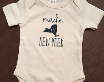 Made in New York Baby Onesie - Made in NY Baby - Organic Cotton Baby Clothes Screen Printed Onesie 0-3mo