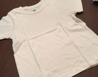 Ivory Organic Cotton Baby Toddler Clothes Plain T-shirt Size 6