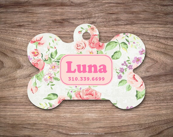 Dog Tag Floral Dog Tag for Collar Cute Pet ID Tag Custom Dog Name Tag Puppy Tag Personalized Dog ID Tag Custom Pet Tag for Dog for Cat