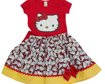 Girl birthday outfit Girl Kitty outfit girl Kitty name age outfit Toddler outfit Kitty girl skirt Girl outfit