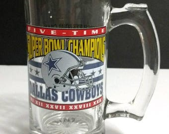 1995 NFL Dallas Cowboys Five Time Superbowl Champions Superbowl XXX 16 Oz Pint Beer Mug Stein