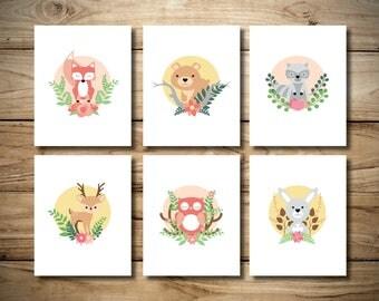 Girls Woodland Animals Print