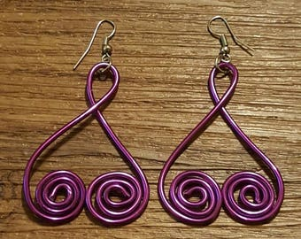 Purple heart wire wrapped earrings