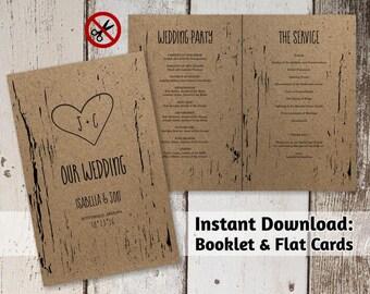 Printable Wedding Program Template - Folded Program - Rustic Tree Wood Carved Hearts & Initials   PDF Instant Download Digital File Booklet