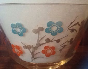 Vintage, Retro, Chip and Dip Set, Orange and turquoise floral, Entertaining, Buffet, Tailgating,
