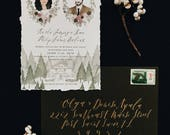 Custom Illustrated Invitation with Portraits and Envelope Addressing