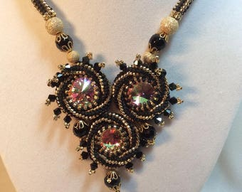 Triple Rivoli Swirl Beaded Necklace 3 Swarovski Rivolis Japanese Seed Beads Gold 10mm Round Beads Black Vintage Faceted DarlingArtByValeri