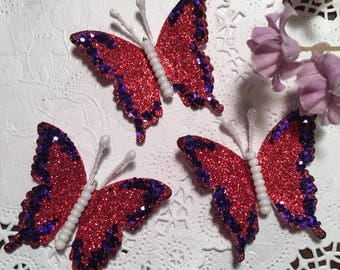 Red Hatter Glitter Glass Bodied DarlingArtByValeri Butterflies Scrapbooking Embellishments Mini Albums Cards Weddings Gifts Red Hat Society