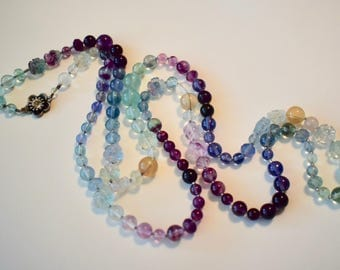 Rainbow Fluorite Beaded Necklace