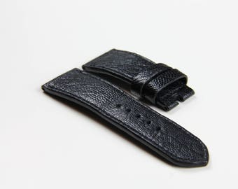 Black Ostrich Leather Strap