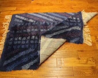 Swedish Rya Wool Rug in Beautiful Blues