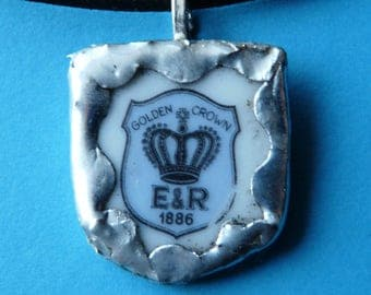 Broken China Pendant - E & R