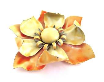 Vintage Enamel Pin Orange Yellow Flower Power MOD Brooch