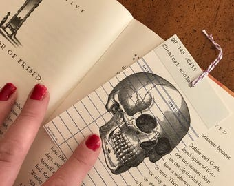 Human Skull B&W Vintage Library Due Date Card Bookmark / Anatomy / Library Nostalgia