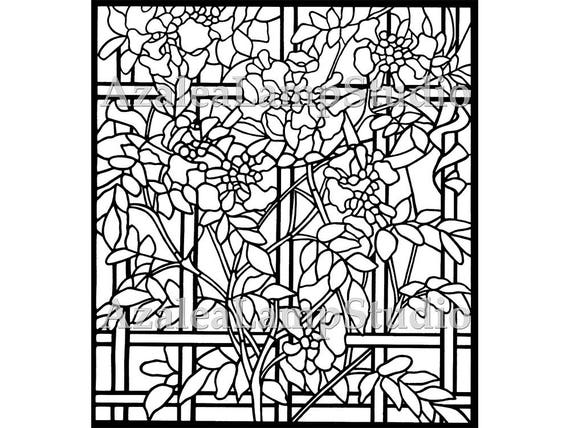 Window Panel, Window Insert Stained Glass Patterns, Pattern Designs, Garden SVG, Coloring Pages, Pattern Svg, Pattern Print, Tree Print