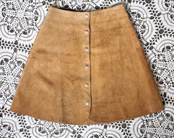 Vintage tan brown suede leather high waist waisted 60s 70s mini skirt S