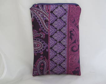 Brocade Tarot Card Bag Burgundy, Lavender and Pink with Purple Satin Lining and Zipper Dice Makeup Pouch Fancy