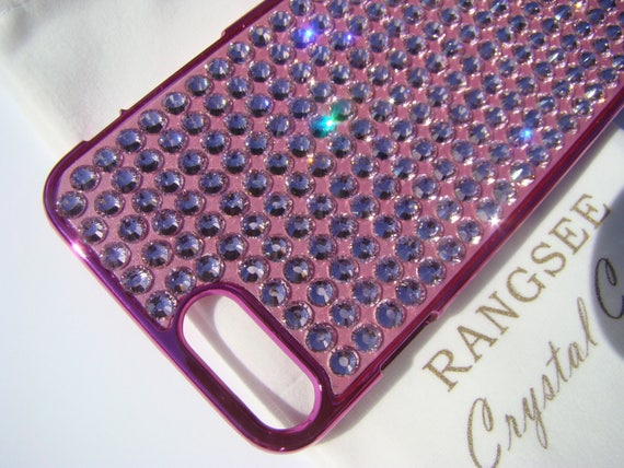 iPhone 7 Plus case, Light Rose Crystals on Pink Chrome iPhone 7 Plus case . Rangsee Crystal Cases