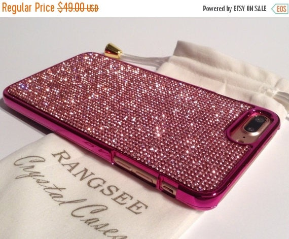 Sale iPhone 7 Plus Case Pink Diamond Rhinestone Crystals on Pink Chrome Case. Velvet Pouch Included, Genuine Rangsee Crystal Cases
