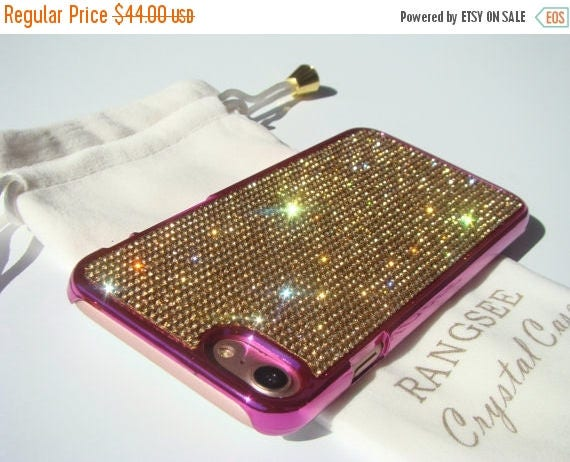 Sale iPhone 7 Case Gold Topaz Rhinstone Crystals on iPhone 7 Pink Chrome Case. Velvet/Silk Pouch Included, Genuine Rangsee Crystal Cases.