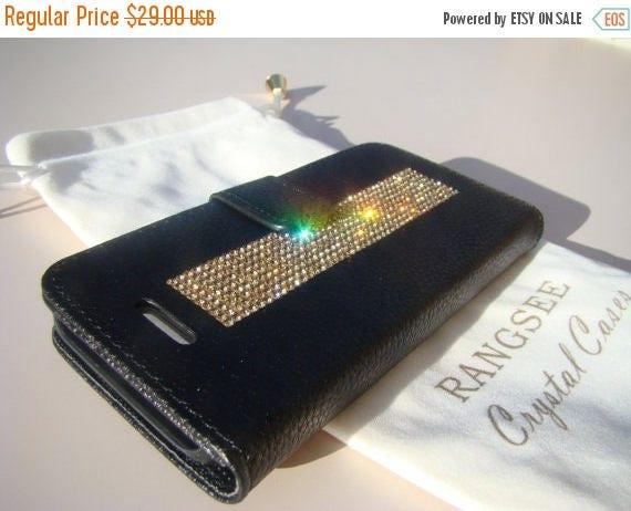 Sale iPhone SE Case /5/ 5s Gold Topaz Crystals on Black Wallet Case. Velvet/Silk Pouch bag Included, Genuine Rangsee Crystal Cases.