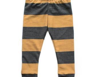 Mustard Stripe Leggings - French Terry Leggings, Baby Joggers, Boy Leggings, Baby Boy Outfit, Newborn Outfit, Striped Joggers, Leggings