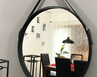 Beautifull black leather mirror HANDMADE various diameters 43-80 cm/17-32 inches