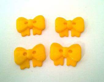 4 buttons 18 mm sewing scrapbooking custo yellow bows