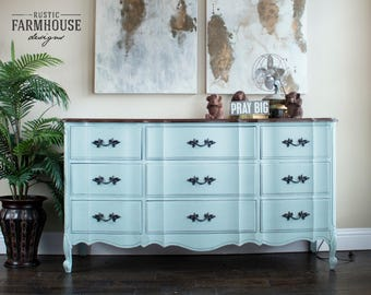 French Provincial Dresser & Nightstand, Blue Dresser, Vintage Dresser, Painted Furniture, Hand Painted, Distressed Furniture