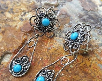 JEWELRY SALE Mexican Sterling Silver Filigree and Turquoise Dangle Earrings
