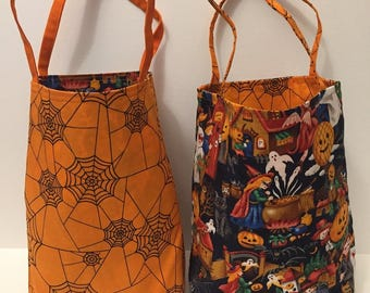 Witch's Brew with spider webs- Lined Halloween Trick or Treat Bag or Gift Bag,Candy Tote,Ghosts,Pumpkins,Orange,Black - Ready to SHIP