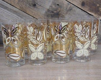 Gold Butterfly & Leaf Highball Glasses, Set of 8