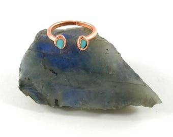 Turquoise Ring, Raw Stone Ring, Open ring, Kingman, 2 Stone, Electroformed Ring, Copper Ring, Blue Gemstone, Healing, Turquoise Jewelry