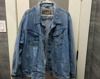 90s Jean Jacket with Blue Buttons Size L
