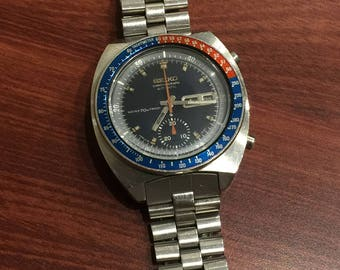 SEIKO Chronograph Pogue 6139-6002 Pepsi Bezel Stainless Steel Automatic Watch