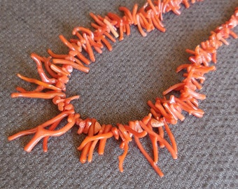 Amazing Genuine BRANCH CORAL Antique NECKLACE...Vintage Coral Beads Jewellery...Unusual Marine Sealife Natural History Chic!